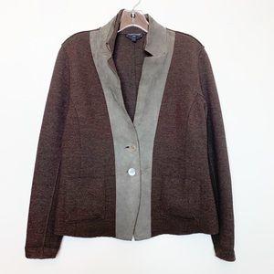 Eileen Fisher Merino Wool Brown Jacket Small